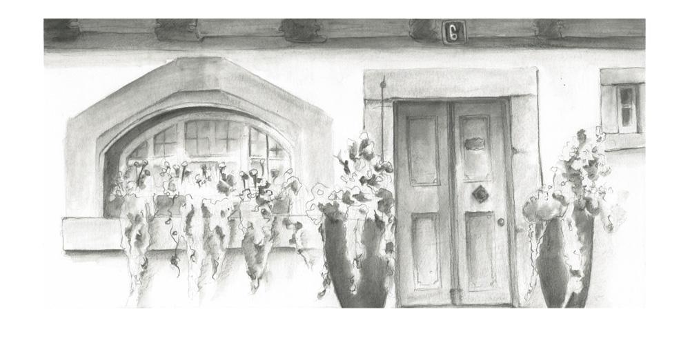 Im Zeichenunterricht entstanden, hier waren wir in der Unterstadt in Bremgarten, wo es wunderschöne Details zu bestaunen gibt