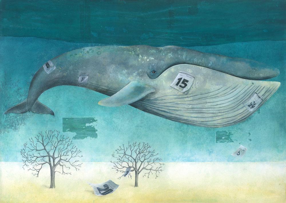 Walgesang Acryl auf Karton, Surreal, Susanne Brem