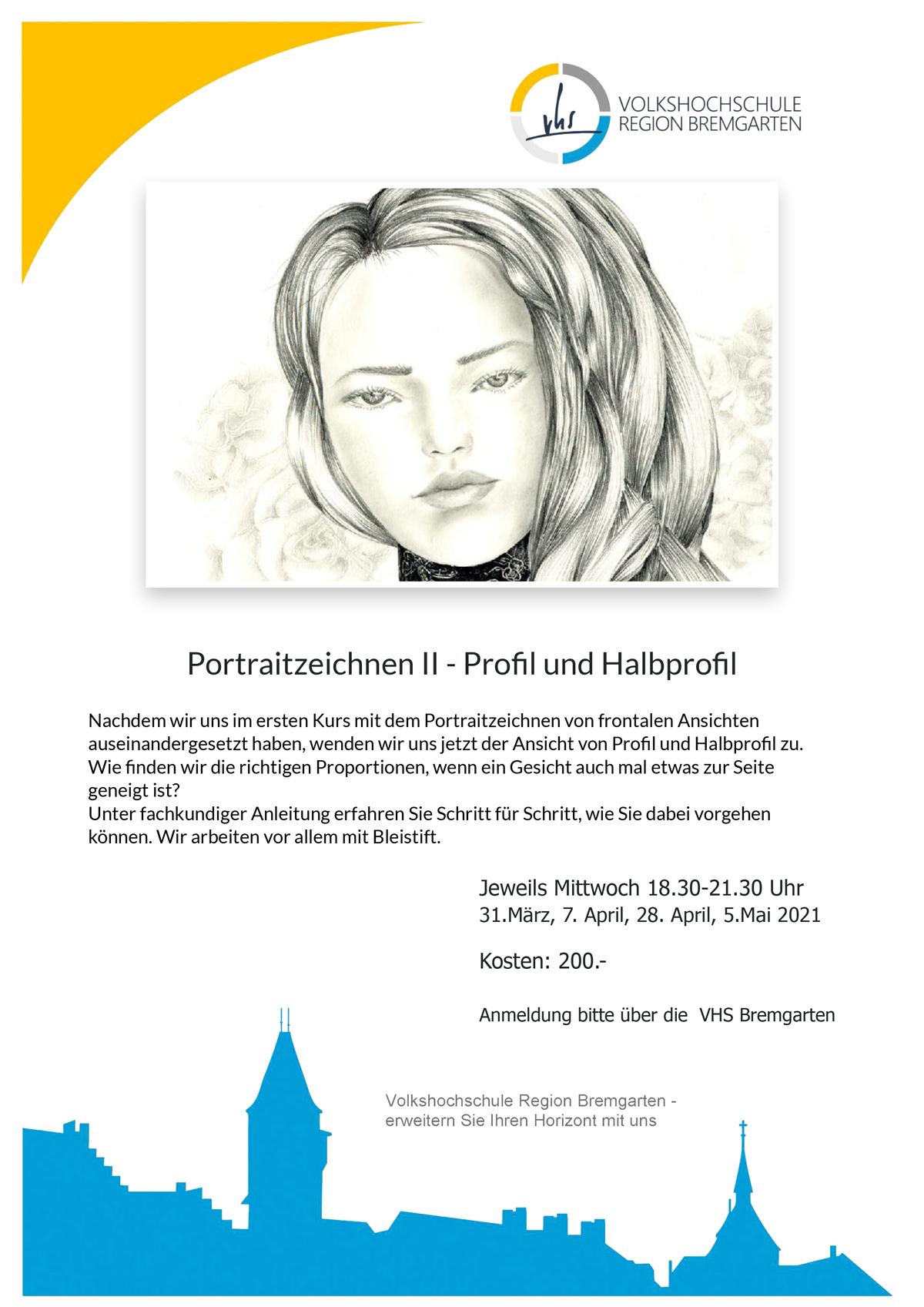 Kur Porträt Zeichnen in Bremgarten VHS Volkshochschule Bremgarten Leitung Susanne Brem