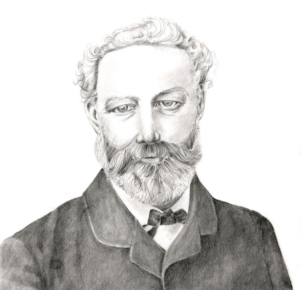 Jules Verne (1828-1905), französischer Schriftsteller, Bleistiftportrait Susanne Brem