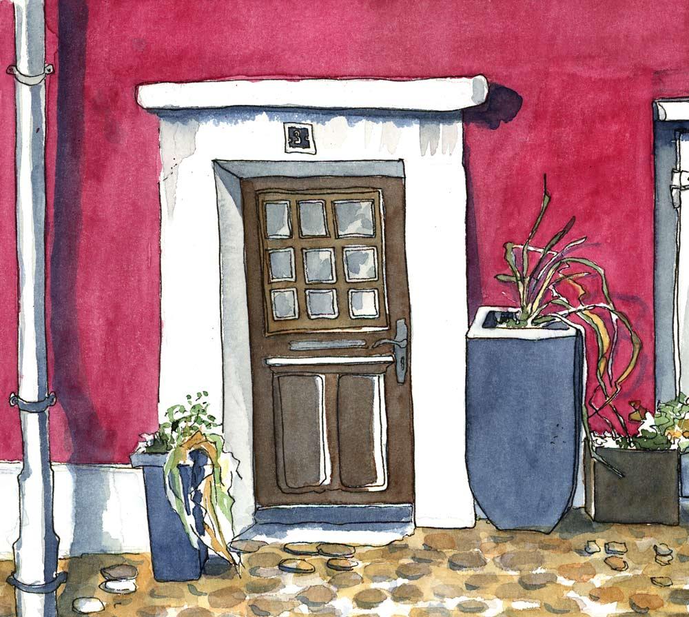 Urban sketches in der Schlossergasse, bremgarten die Farbe ist frei erfunden