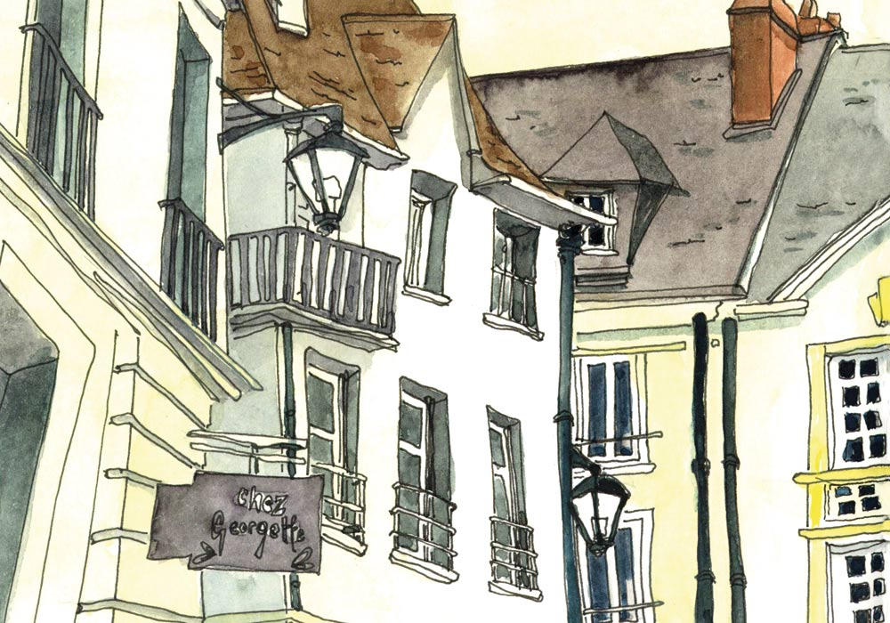 Virtuelles Urban sketchen VHS Spreitenbach  nach Südfrankreich