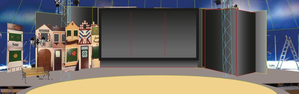 Entwurf für ein Bühnenbild Hält im Hosesack
