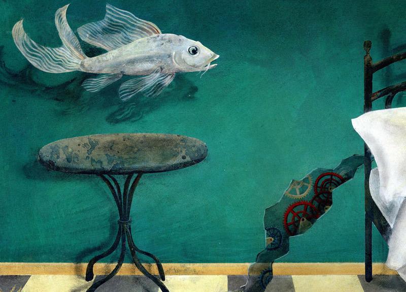 Illustration Susanne Brem Fisch surreal Schlafzimmer