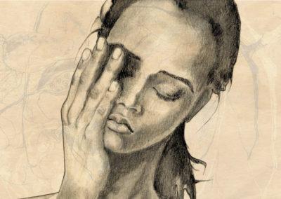 Portrait mit Hand