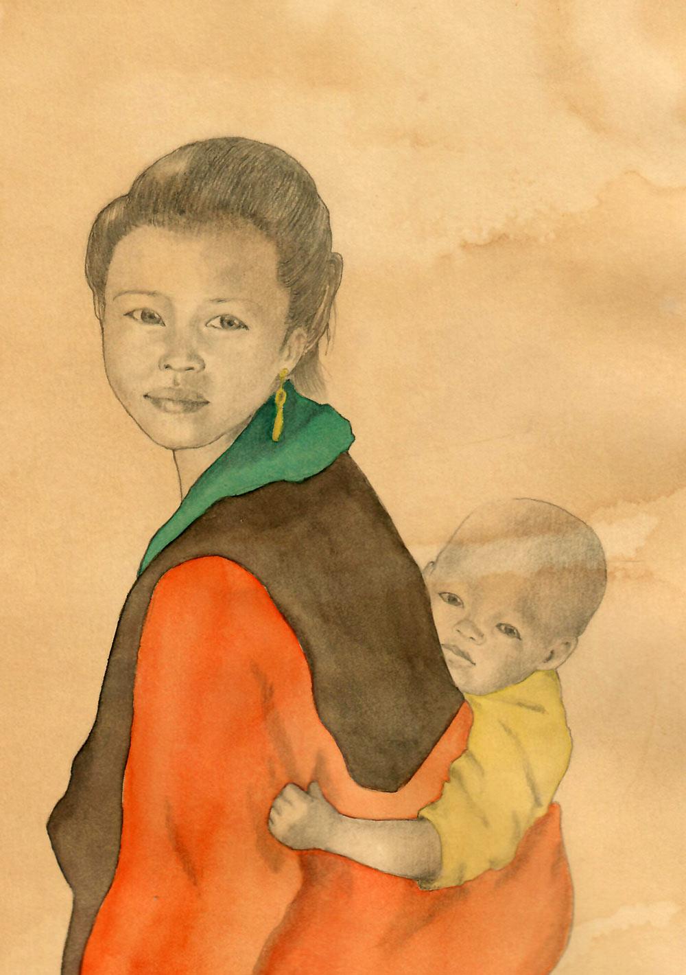 Frau mit Kind Bleistiftzeichnung und Aquarell auf Papier