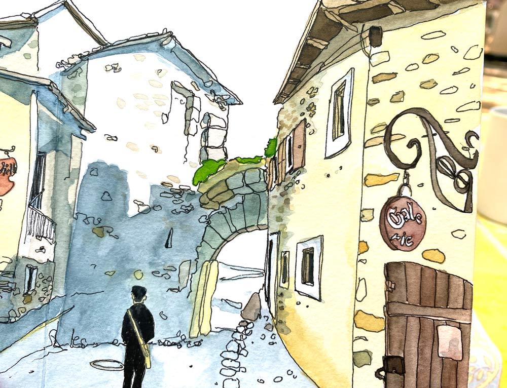Newsletter Blogbeitrag Urban Sketching Yvoire susanne brem