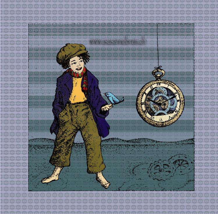 Kind mit Uhr Illustration mit photoshop koloriert