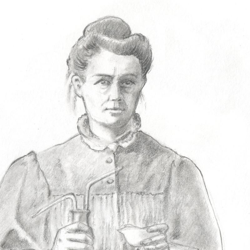 zweifache Nobelpreisträgerin_Marie Curie Bleistiftzeichnung Susanne Brem Portraitzeichnung