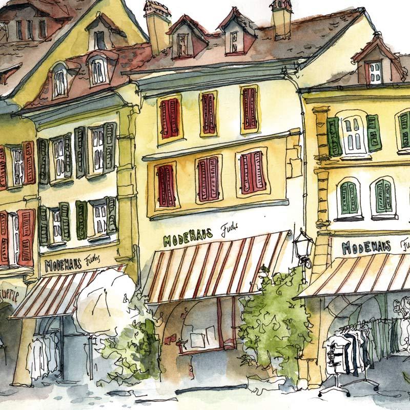 Mit Baumeler Reisen nach Murten Reiseleitung Susanne Brem Urban Sketching