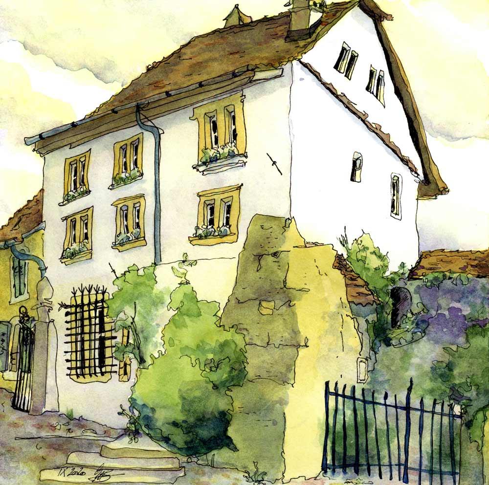 Altes Haus in Estavayer-le-Lac, Urban Sketch Susanne Brem