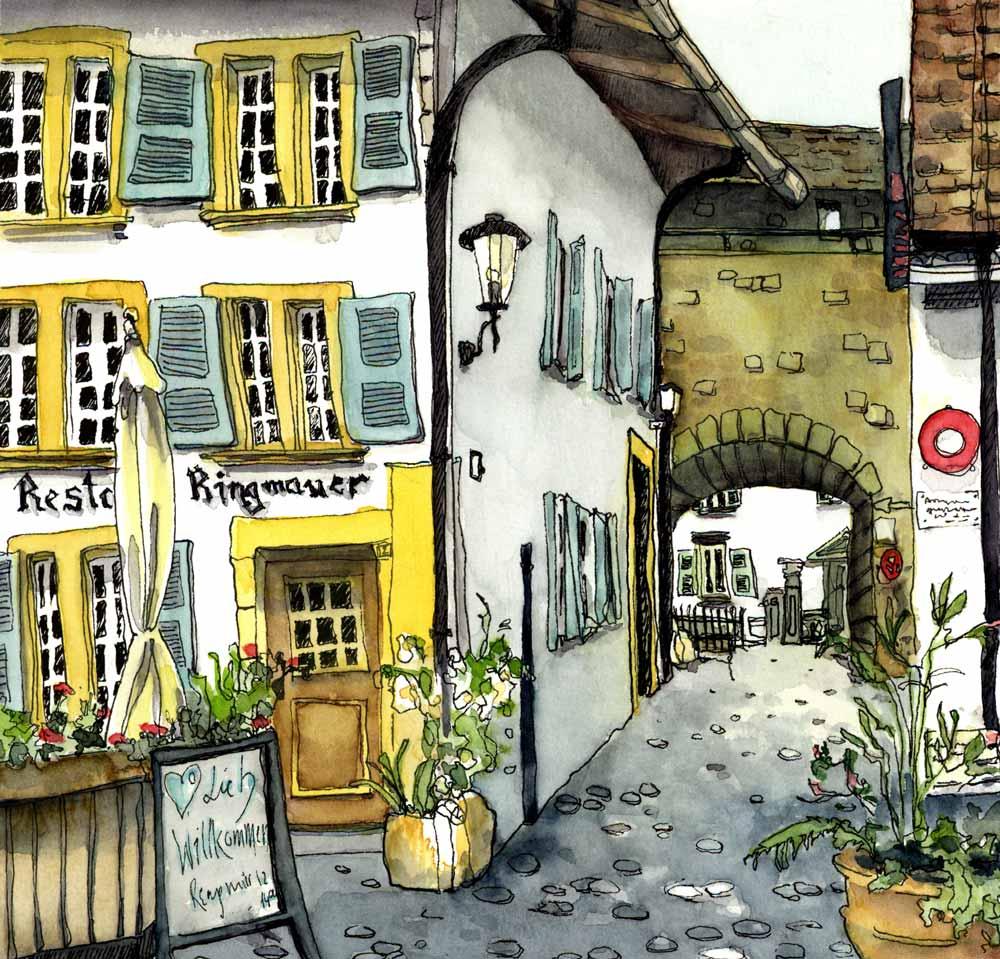 Restaurant Ringmauer in Murten Urban Sketch mit Baumeler Reisen Susanne Brem