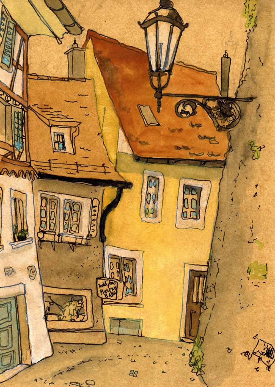 Auf braun gefärbtem Papier ein kleiner Sketch aus Badens Altstadt