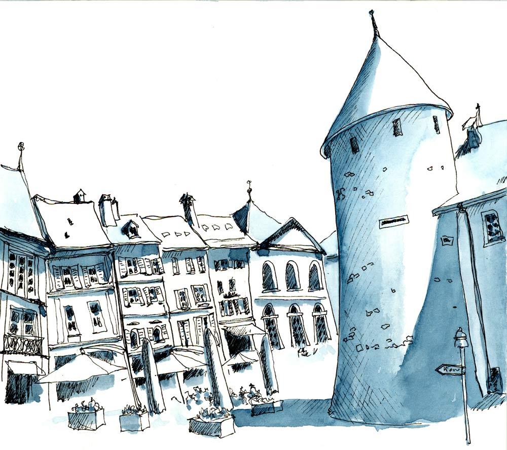 Yverdon-les-Bains, Urbansketch, Susanne Brem